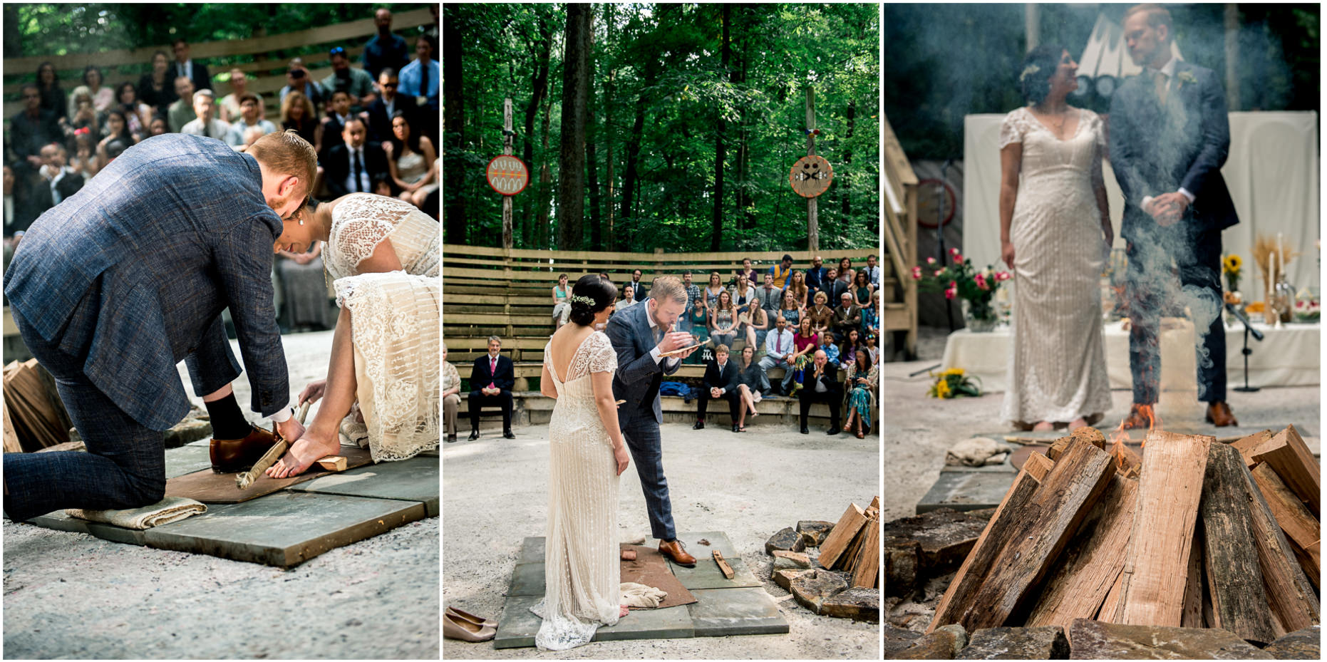bride and groom rubbing sticks together to build fire during wedding ceremony