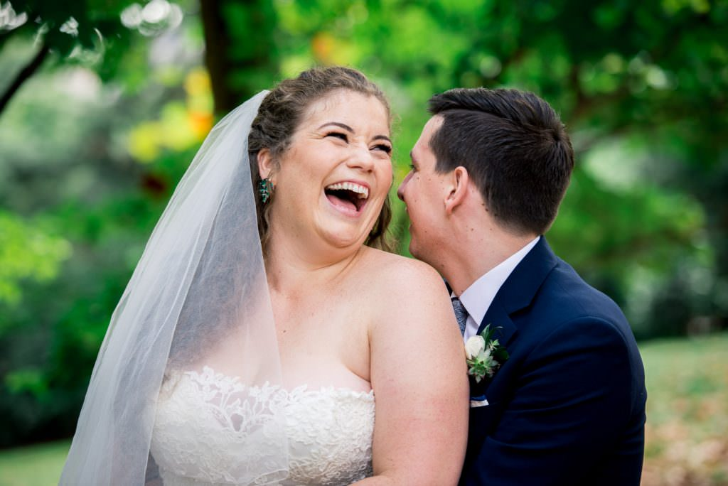 Washing DC wedding portrait of bride laughing with groom