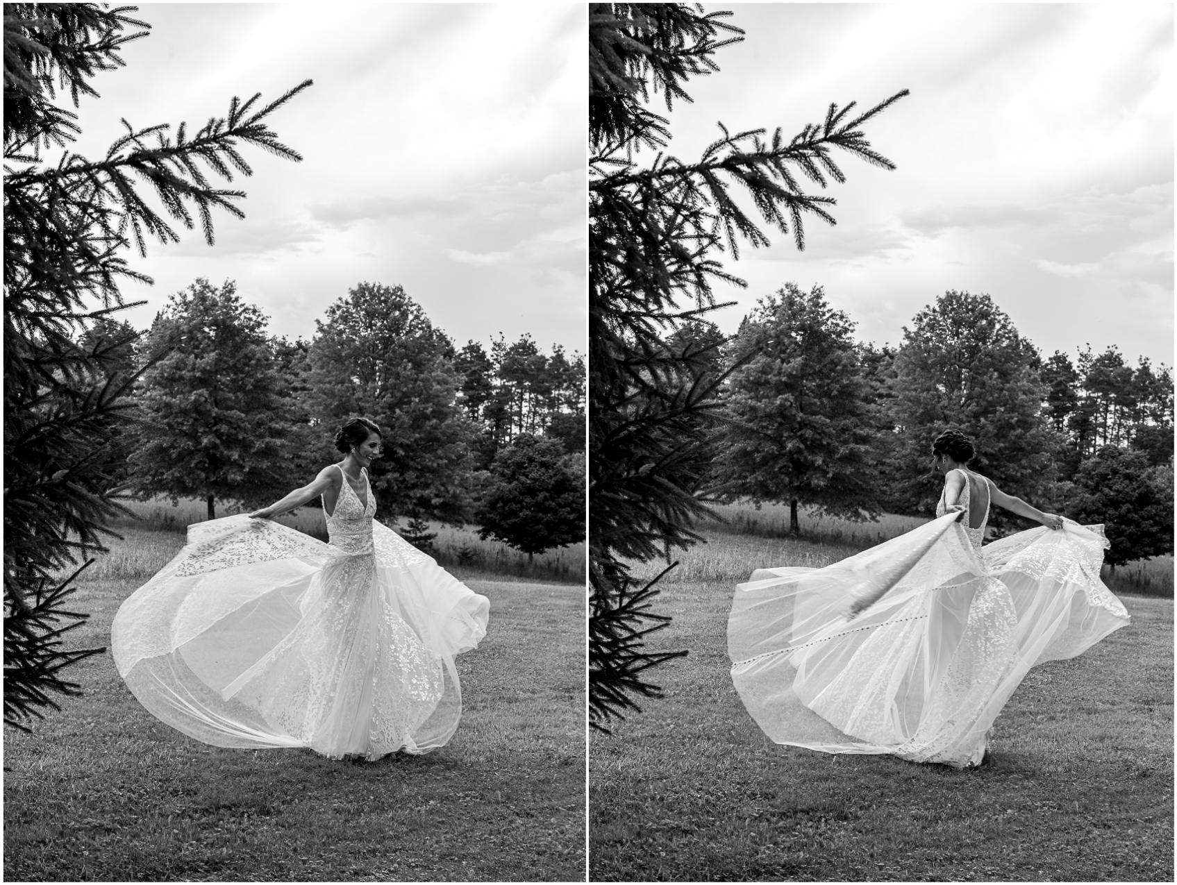 bride twirling boho wedding dress