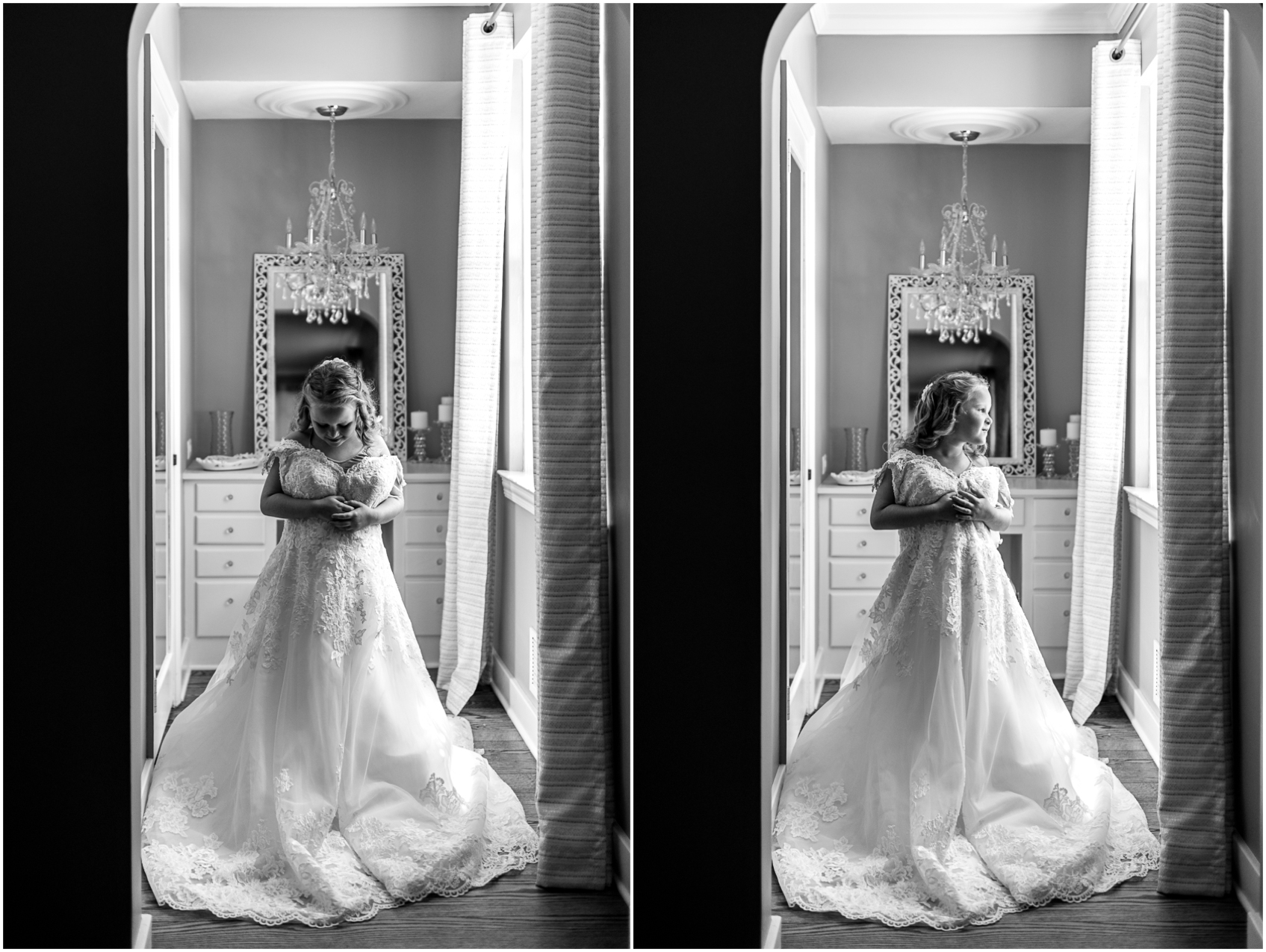daughter trying on mom's wedding dress