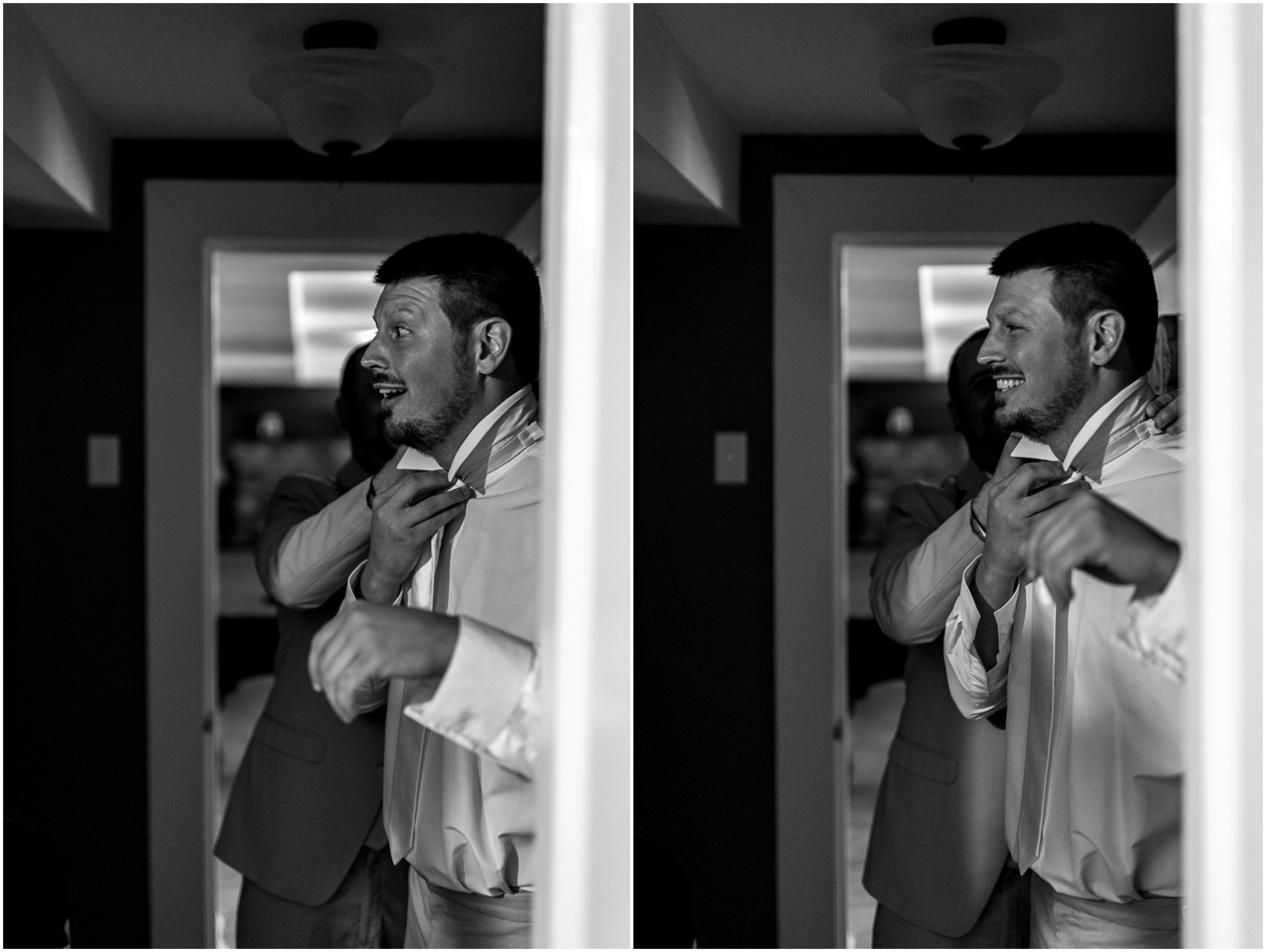 groom getting dressed in pool room