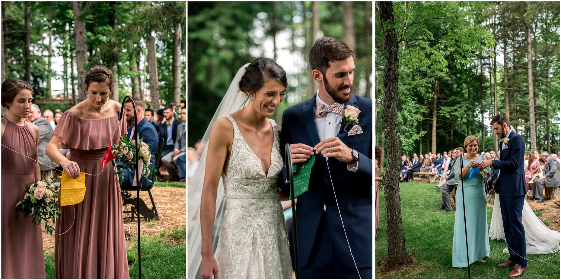 prayer flag stringing during wedding ceremony