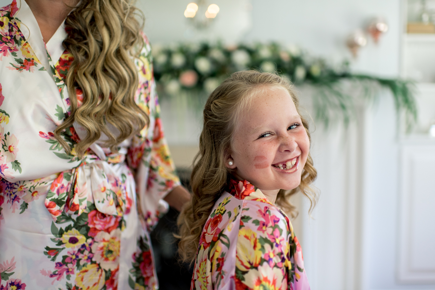 flowergirl with kiss on cheek