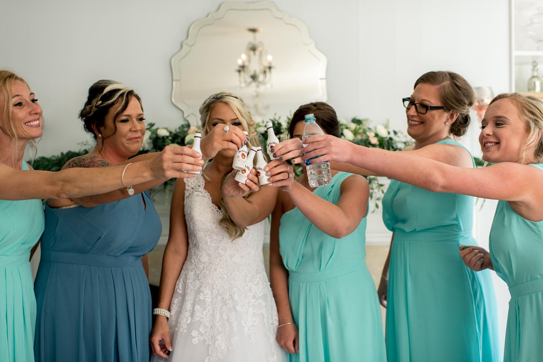 bridesmaids taking shots