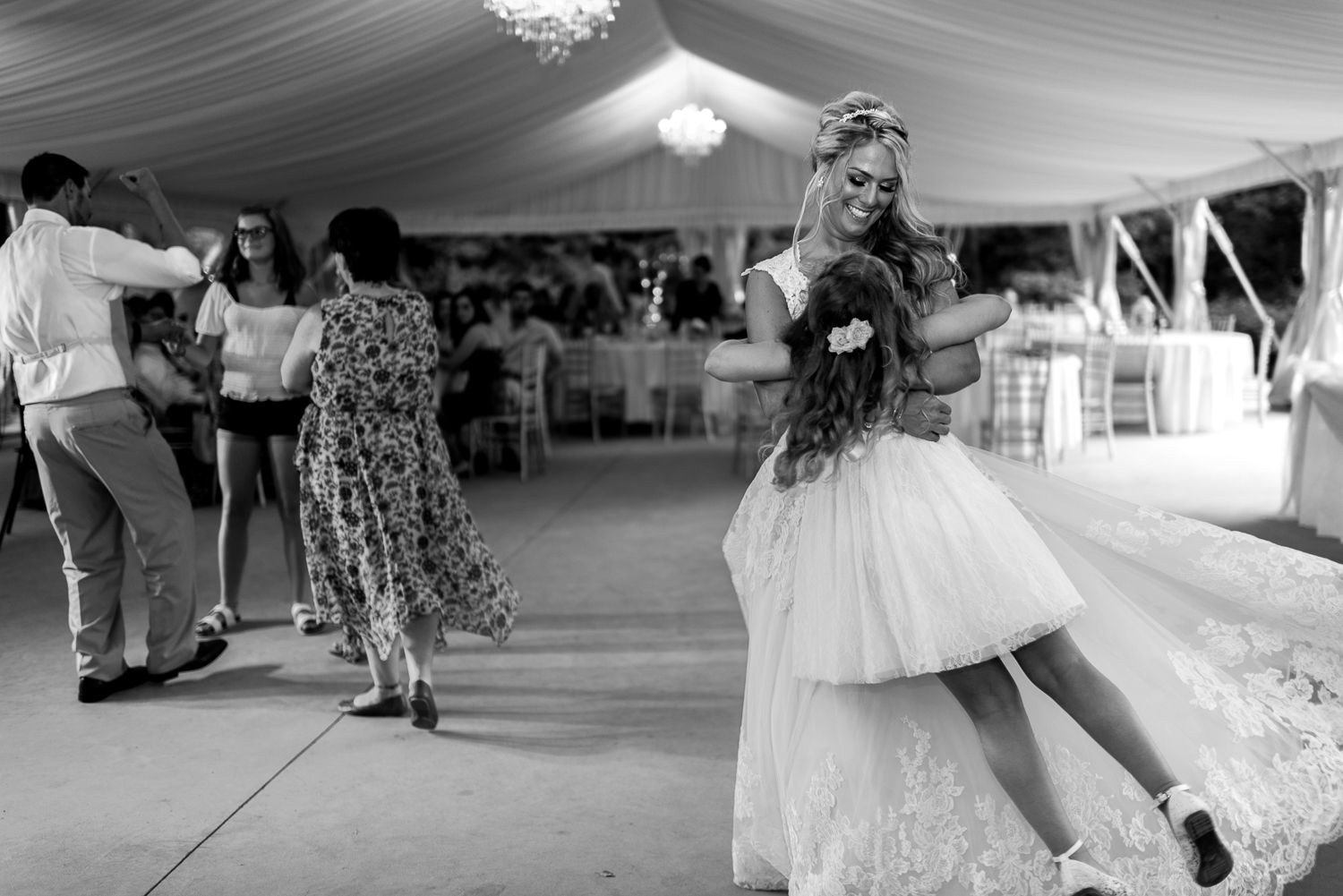 bride twirling daughter