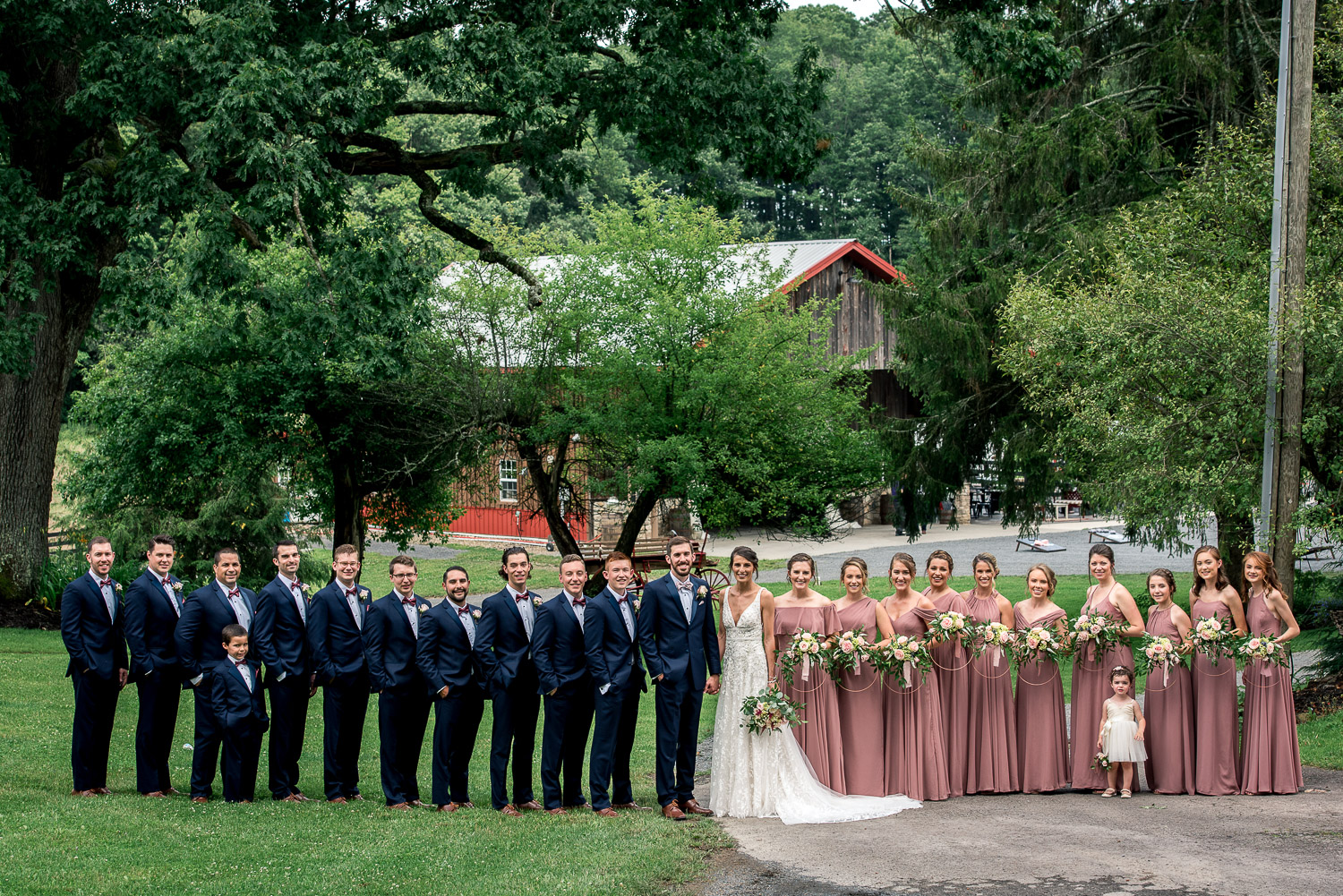 bridesmaids and groomsmen together