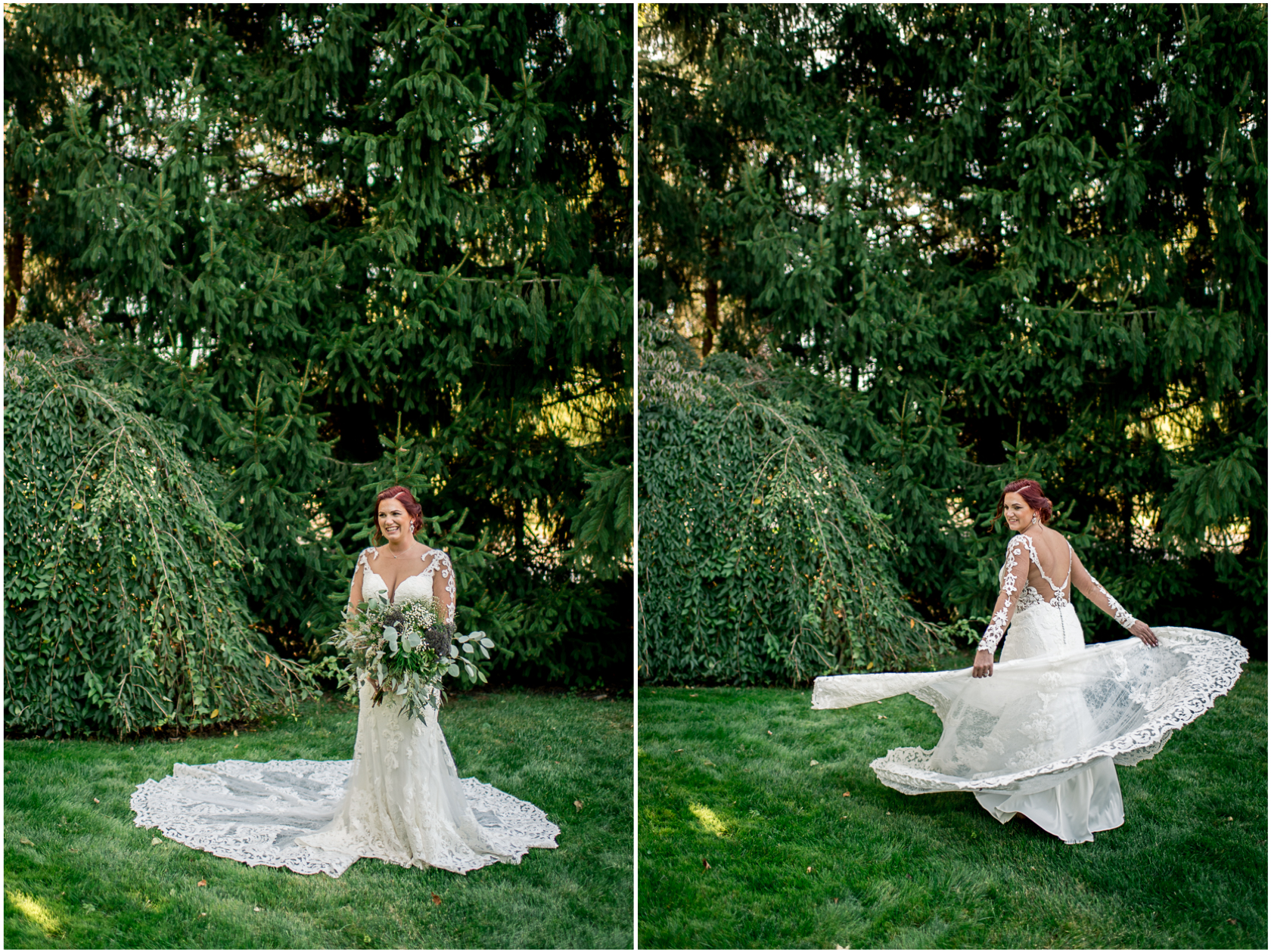 bride in long-sleeved lace wedding dress