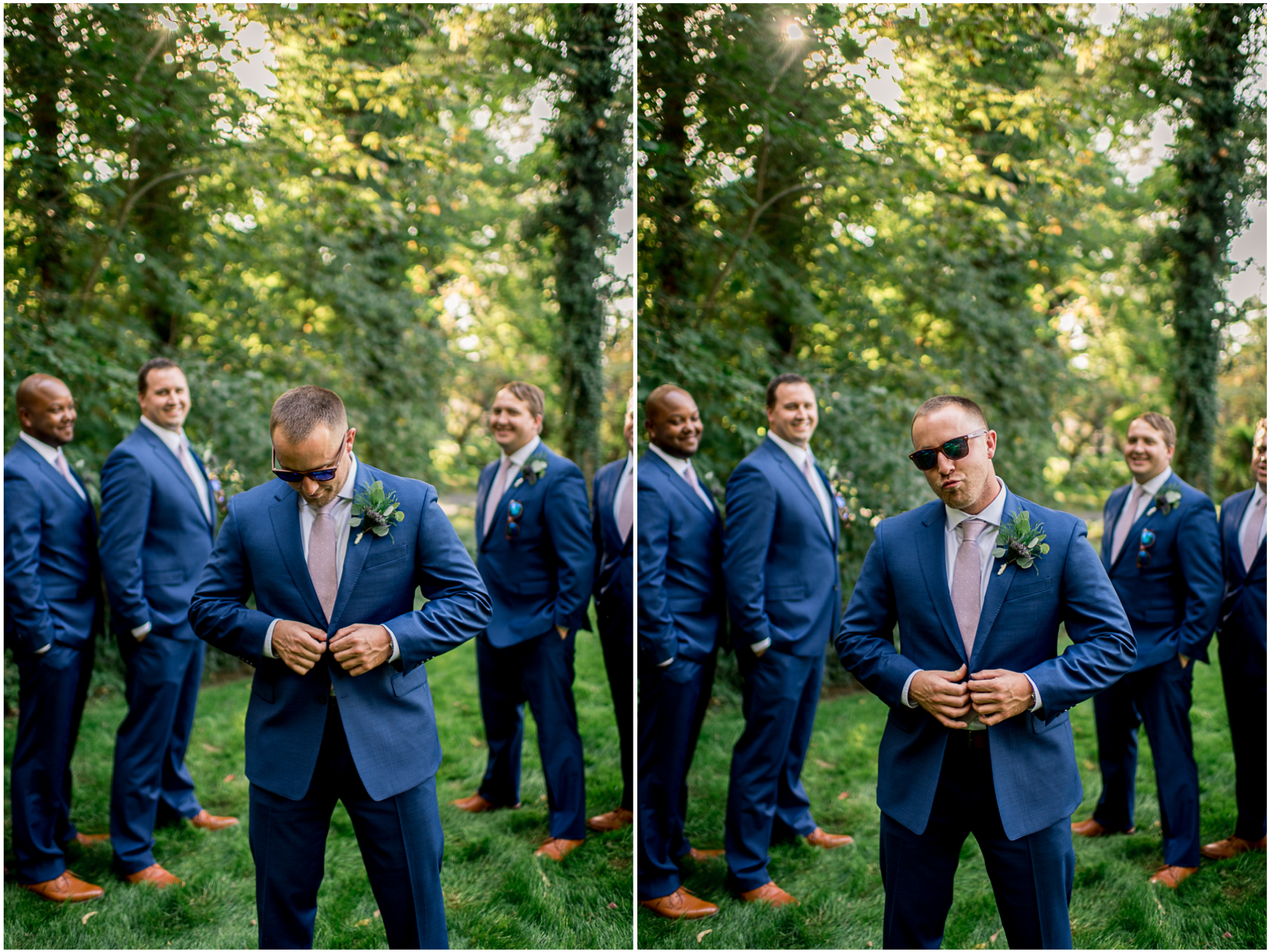 groom doing blue steel in blue suit