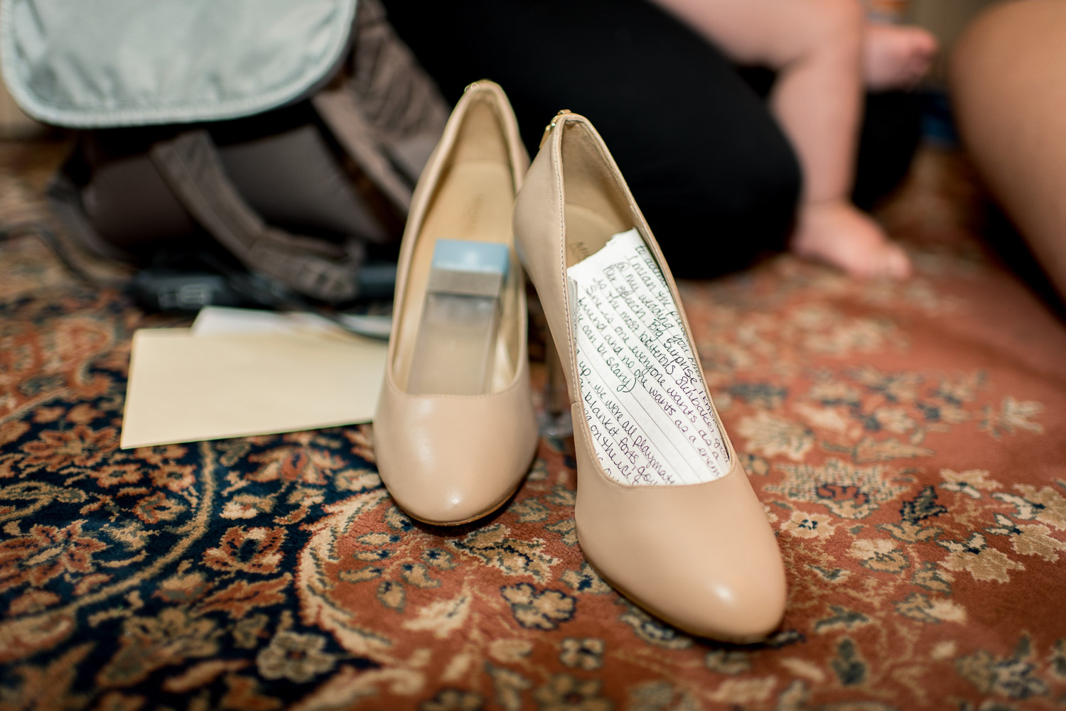 bridemaids shoes with written wedding toast
