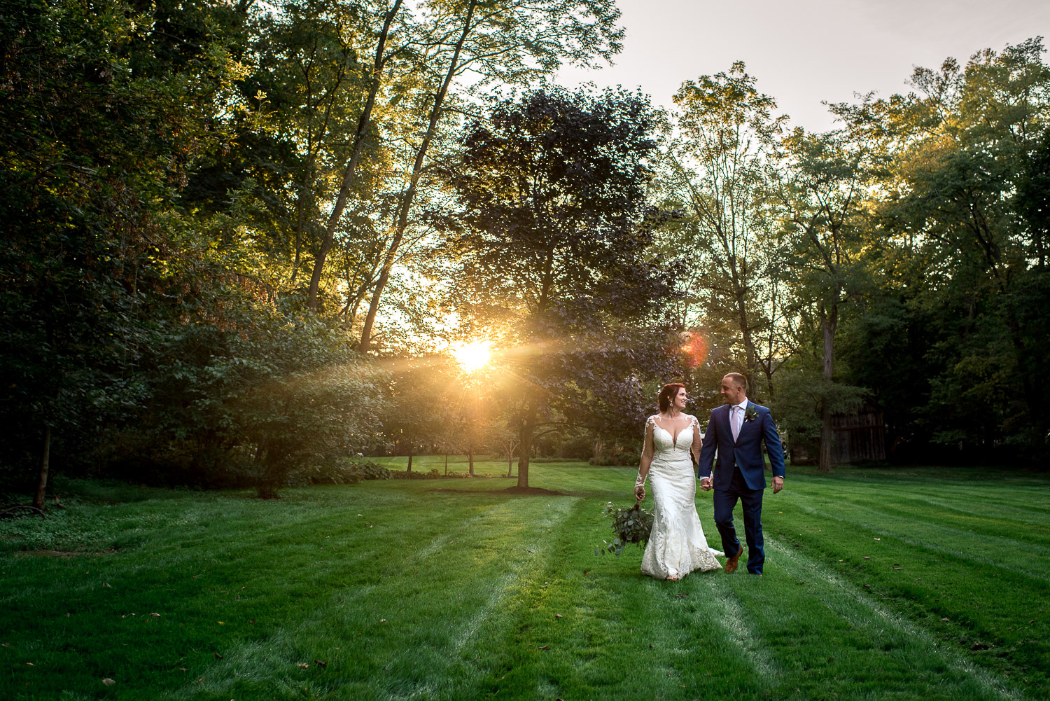 bride and groom portrait during golden hour