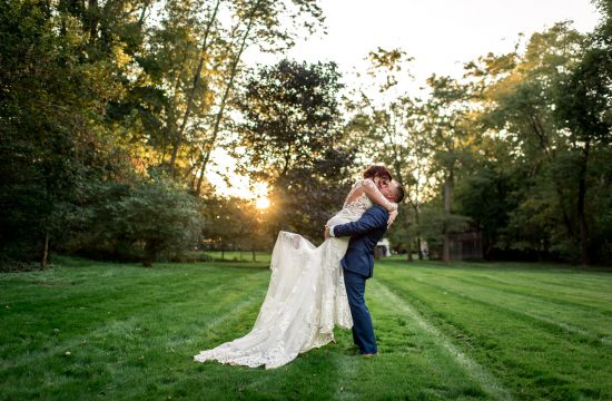 vibrant outdoor wedding portrait during golden hour