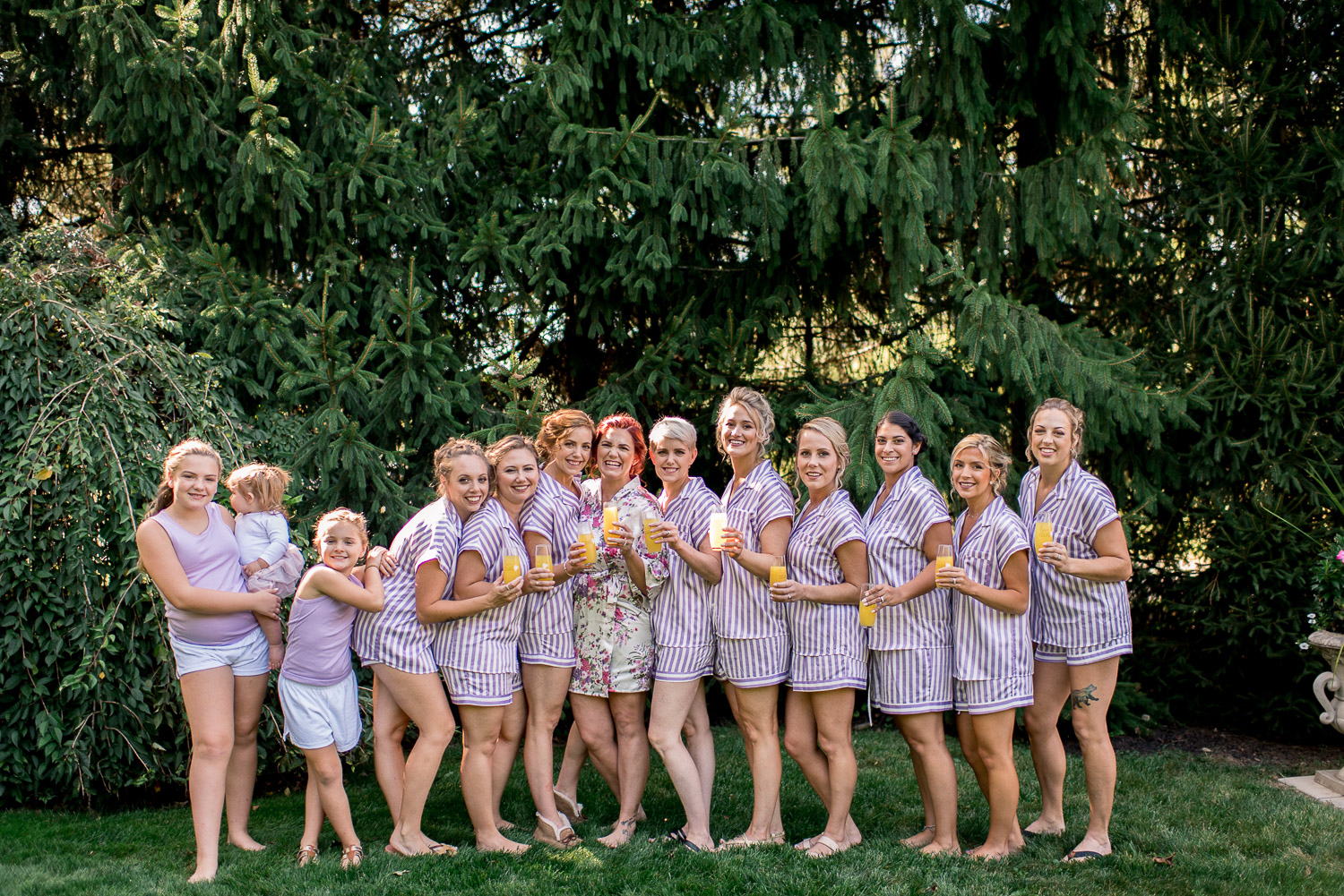 bride and bridesmaids in striped pajamas