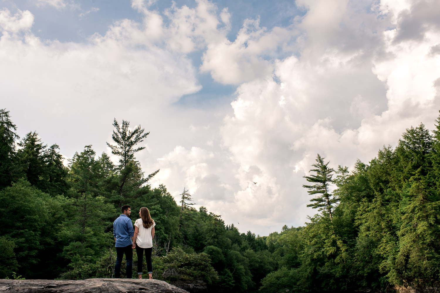 fun outdoor engagement session at Swallow Falls State Park