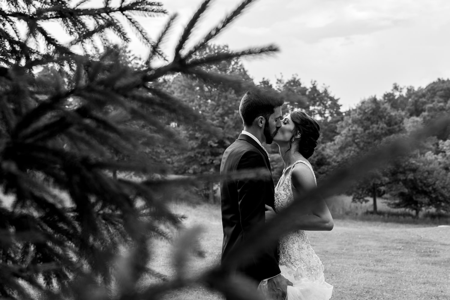 bride and groom posing for portrait in Deep Creek Lake Maryland
