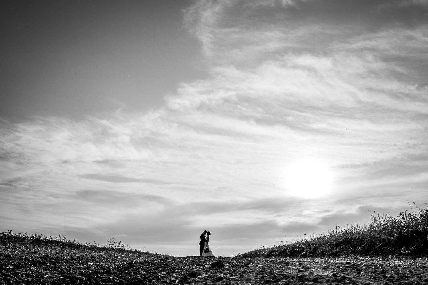 black and white wide portrait with big sky