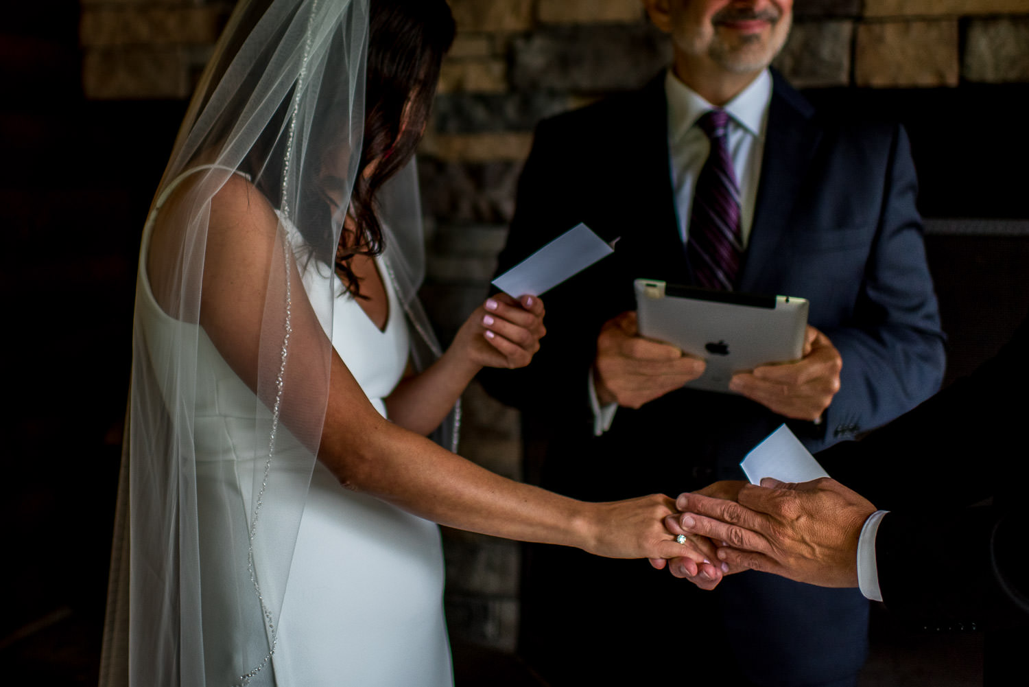 reading vows during ceremony of deep creek lake elopement