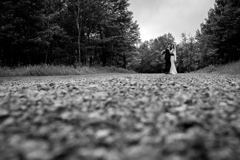 wedding portrait in woods
