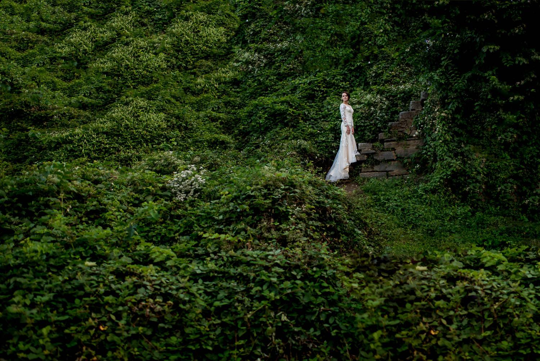 bride portrait in ivy in Georgetown